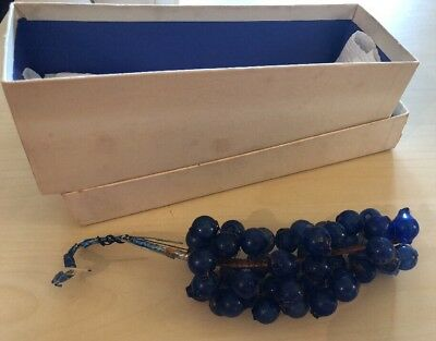 ANTIQUE WIRE STRUNG GLASS GRAPE CLUSTER CHRISTMAS ORNAMENT Unsilvered Blue