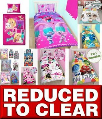 * REDUCED * Disney Character Girls Kids Bedding Single Duvet Quilt Cover Bed Set