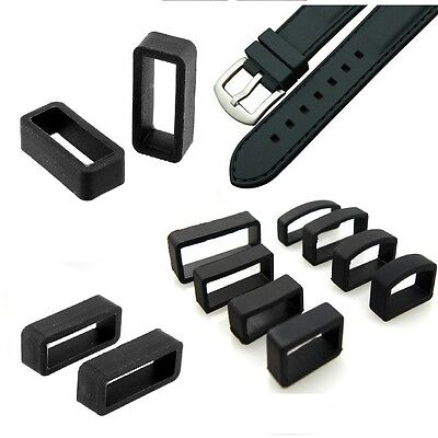 PVC Rubber Black Watch Strap Band Buckle Keeper Hoop Loop Holder Retainer Ring