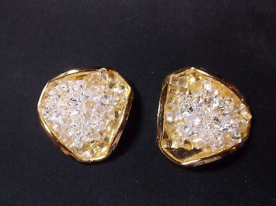 """Vintage Shoe Clips  """"Added Extras NYC"""" gold tone with clear beaded accents 1.5"""""""