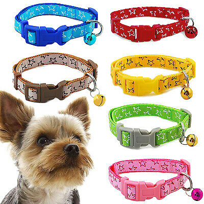 HA Pet Dog Puppy Cat Kitten Soft Glossy Reflective Collar Safety Buckle Bell