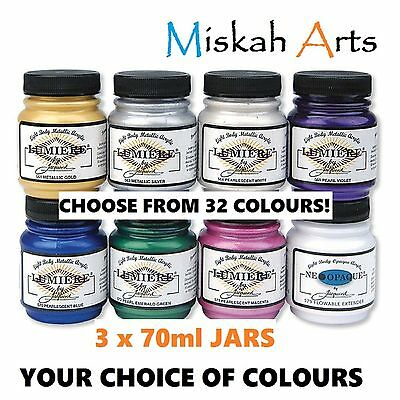 JACQUARD LUMIERE - METALLIC PAINTS - 70ml x  3 JARS - YOUR CHOICE OF COLOURS