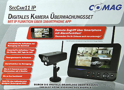 "COMAG Digitales IP Kamera Funk Überwachungs Set Video Überwachung 7"" TFT Monitor"
