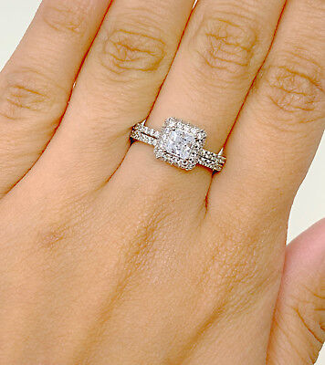 14K Solid White Gold Halo Solitaire Cubic Zirconia Engagement Ring