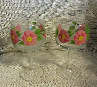"Franciscan Desert Rose... 2 - 6.5"" Footed All Purpose 12 Oz Goblets Stems"