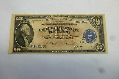 Philippines Uncirculated Ten (10) Pesos Treasury Certificate Victory 1 Pin Hole