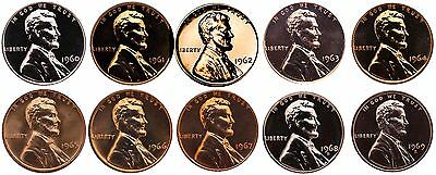 1960-1969 S Lincoln Memorial Cent Gem Proof & SMS Run 10 Coins US Mint Penny Lot