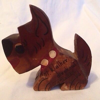 Vintage Mt. Walker Lookout Bland Va. Carved Wood Dog Schnauzer Collectible