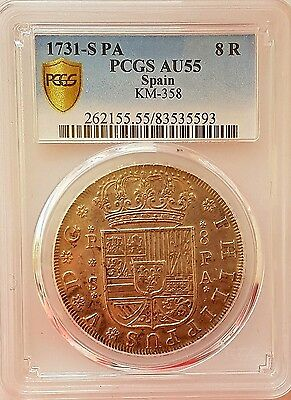 VERY RARE 1731-S PA SPAIN PCGS-AU55 SILVER 8 EIGHT REALES COIN Calicó 943