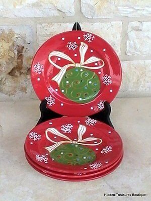 Pier 1 Decorations 4 Salad Dessert Plates Red Hand Painted Christmas