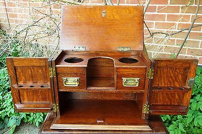 Original Solid Oak Victorian Pipe Smokers Collectors Cabinet Chest