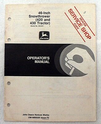 JOHN DEERE TRS22 Snowblower Snowthrower Operators Manual