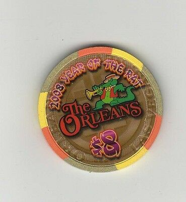 Orleans Las Vegas $8 Casino Chip Year Of The Rat 2008 Mint