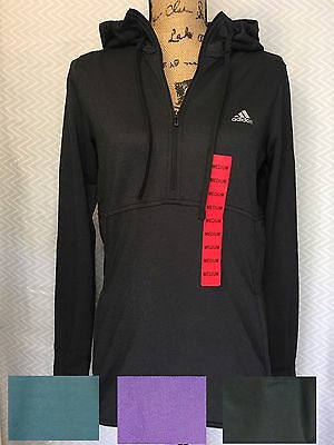 Adidas Womans 1/4 Zip Trans Hoodie Pullover Jacket Thumb Slit size/color variati
