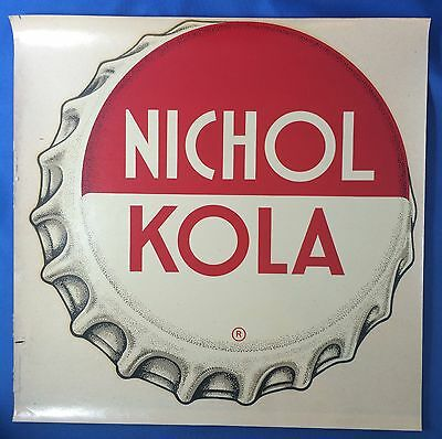 Original Vintage 1940s NICHOL Kola SODA BOTTLE CAP Advertising Window DECAL