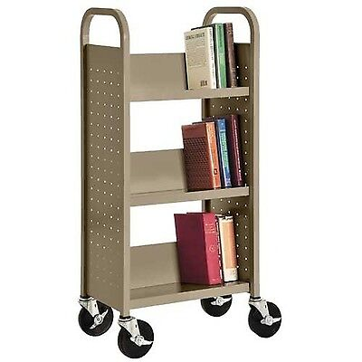 "Sandusky Lee SL33017-04 Single Sided Sloped Shelf Book Truck 14"" Length 1... NEW"