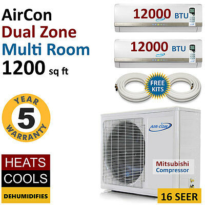 24000 BTU Dual 2 Zone Mini Split Air Conditioner Ductless AC Multi Heat Pump