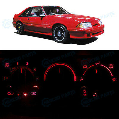 Full Kit AC Temperature Control Ultra Red LED Lights for 1987-1993 Ford Mustang