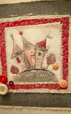 Beautiful Embellished fairytale wall canvas pic, quirky girls art decor unique
