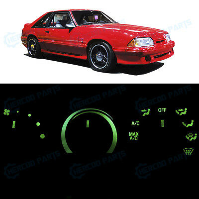 Full Kit AC Heater Control Ultra Green LED Lights for 1987-1993 Ford Mustang