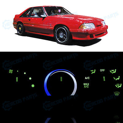 Full Kit AC Heater Control Ultra Ice Blue LED Lights for 1987-1993 Ford Mustang