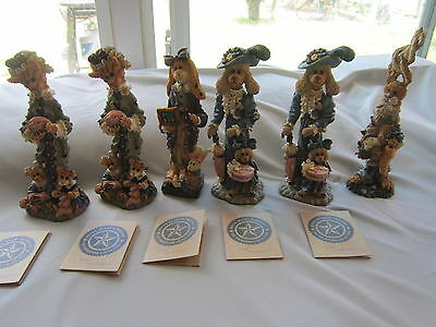 6 Boyds Bears & Friends - The Folkstone Collection New W/ Box & Original Card