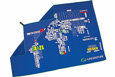 SoftFibre Printed Towel Blue - Giant - World in Words - Lifeventure