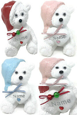 Personalised Love Heart Sleep Tight Teddy Bear Grave Memorial Ornament Pink Blue