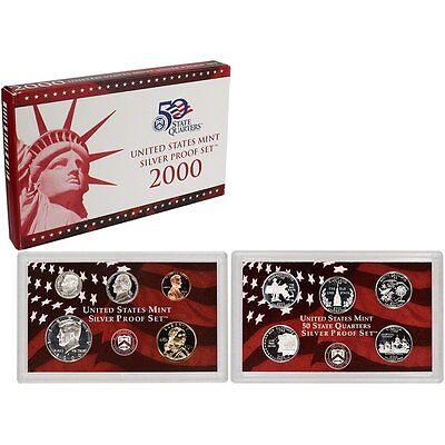 2000-S 90% Silver Proof Set United States Mint Original Government Packaging Box