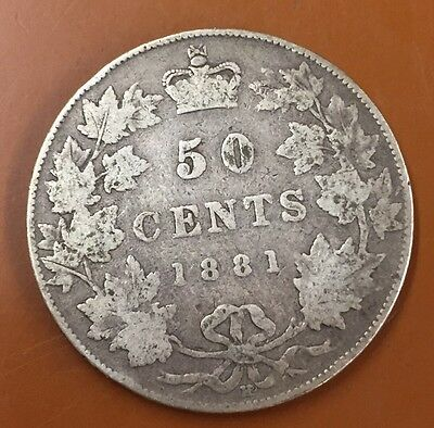 1881-H Canada Half 50 Cent Coin Canadian Fifty Cents
