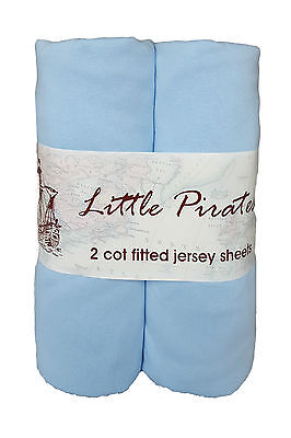 2 x Baby Cot Fitted sheets 60x120 100% cotton jersey Blue