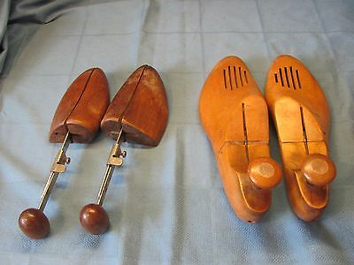 Vintage Lot of 2 Pair Wooden Shoe Trees Stretchers