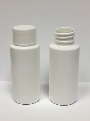 White Plastic Bottle (HDPE) w/White Lid, 1-oz. 20-Pack, New