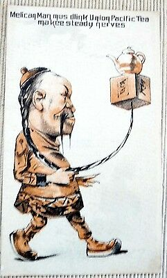 Old VICTORIAN TRADE CARD CHINESE MAN Union Pacific Tea Not Politically Correct
