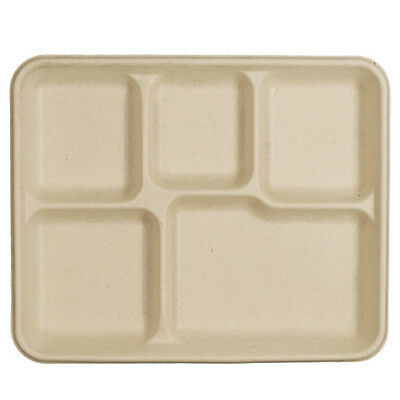 **Biodegradable 5 Compartment 100 Plates Eco Friendly Trays Paper Recycled Fiber