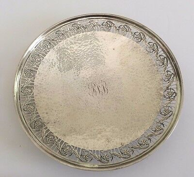 Antique American sterling silver Arts & Crafts Watson hand hammered serving dish