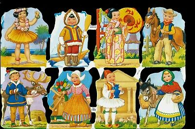 Die Cut Scrap Mamelok English Embossed - Children of Different Nations  1422