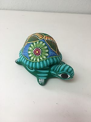 """Hand Painted  Ceramic Turtle Jewelry Box , One Of A Kind , 2.5"""" X 4.5"""" ,#03"""