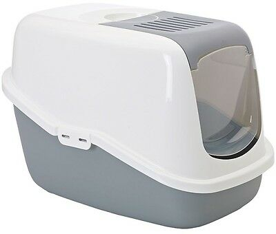 Savic Nestor Cat Litter Box Tray Hooded FREE Carbon Filter Covered Grey
