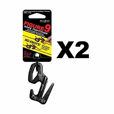 Nite Ize Figure 9 Rope Tightener Large Black Aluminum Tie Down Tool (2-Pack)