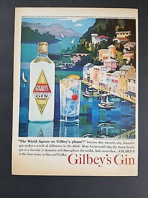 1963 - Gilbey's Gin - The World Agrees On Gilbeys Please  - Vintage Print Ad