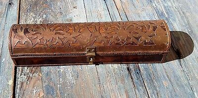 Antique Japan Fan Box, Trunk Shape, Old Solid Wood With Inlay Brass Decor