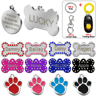 Bone Paw Custom Dog Tags Dics Personalized Engraved Cat Name ID Tags for Pets
