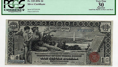 1896 $1 Silver Certificate Educational Note FR: 225 PMG-30