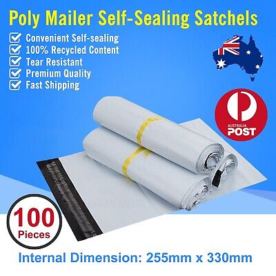 100pcs 255 x 330mm Poly Mailer Plastic Satchel Courier Self Sealing Shipping Bag