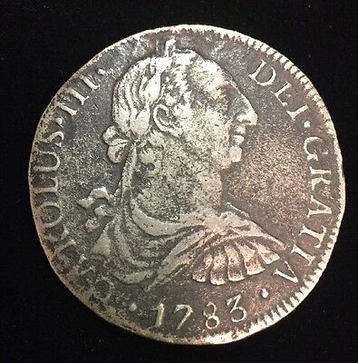 Raw 1783 Mexican FF 8R 8 Reales  Mexico Silver Coin