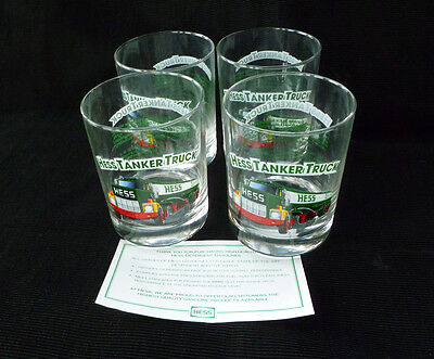 ~ SET of 4 ~ vintage 1996 classic series HESS Truck TUMBLER GLASS ~ TANKER ~ NOS