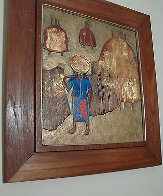Sukrid Signed Original Carved Wood Block Monochrome ~ Bangkok Thailand Artist