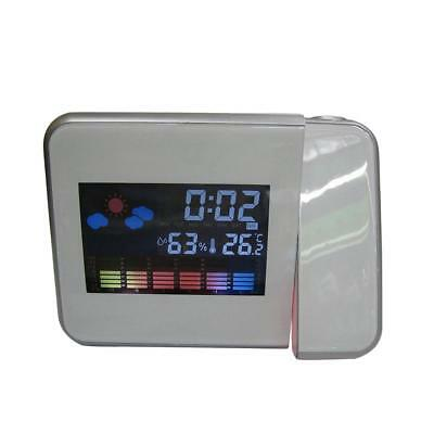 Wall Projector Digital LED Alarm Snooze Time Clock Weather LCD Backlight WHT