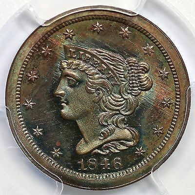 1846 2nd Restrike R-6 PCGS PR 66 BN Braided Hair Half Cent Coin 1/2c